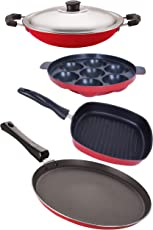 Nirlon 3 Layer Non-Stick Coated 4 Piece Kitchen Cooking Essential Combo Set with Extreme Durability