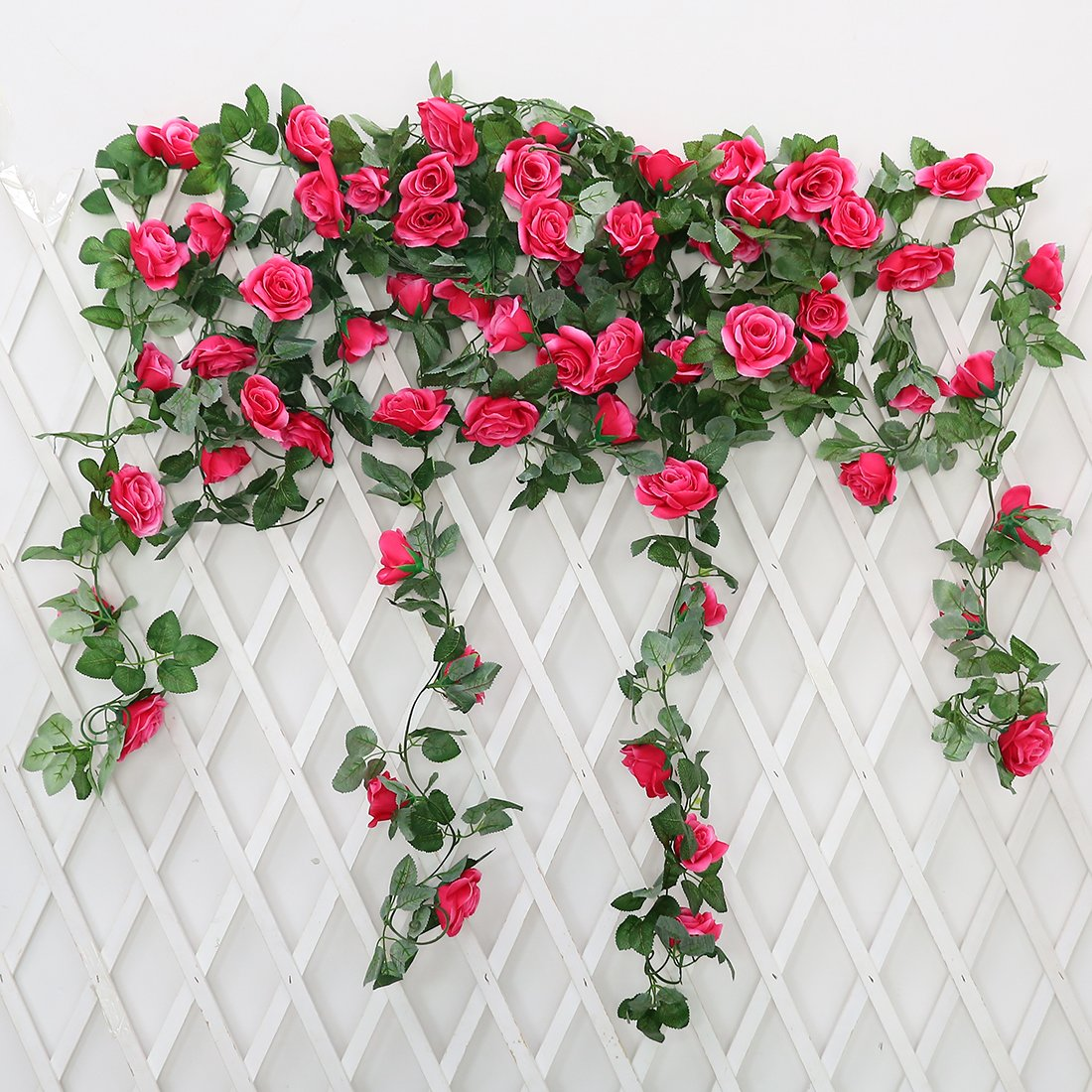 2 Pack 72ft Artificial Fake Rose Garland Vines Hanging Silk Flowers