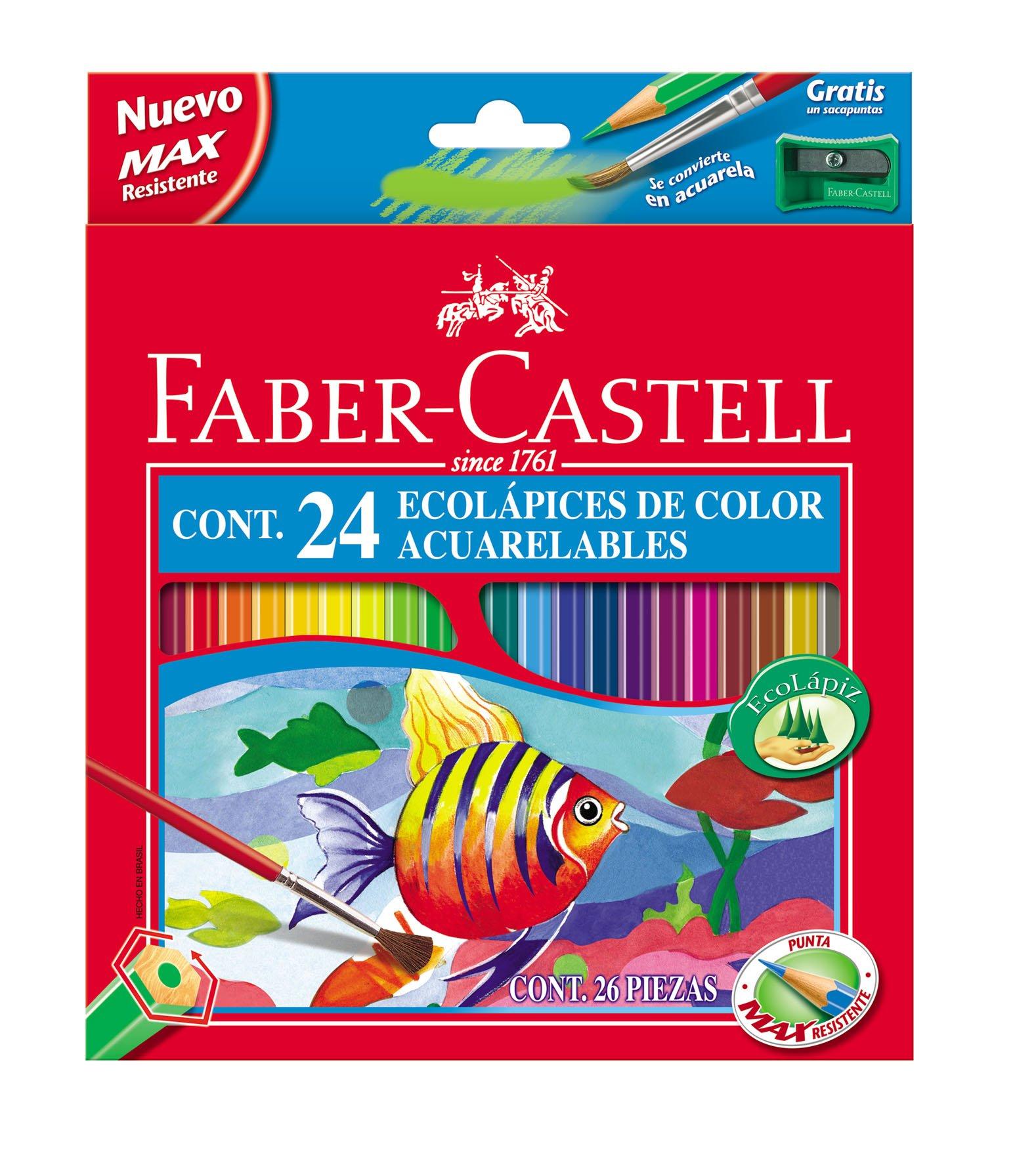Faber-Castell 120224 – Estuche de 24 ecolápices de color acuarelable, 1 pincel y afilalápices de regalo