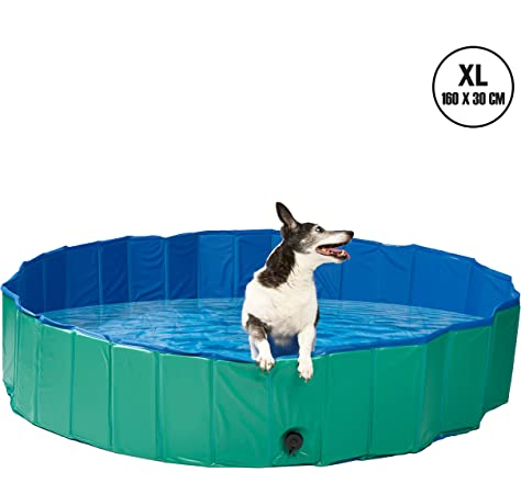 Navaris Dog Paddling Pool Extra Large Foldable Plastic Bath Tub For Dogs With Sturdy Collapsible Design Includes Cover Size Xl 160 X 30 Cm Amazon Co Uk Pet Supplies