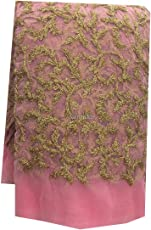 Kurti Material Blouse Fabric by meter Green Pink Net Gold coding leaf embroidery used for Women Dress, Gown, Saree, Bridal Lehenga, Designer Wear _
