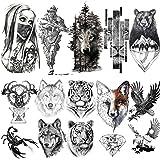 LAROI 10 Hojas 3D Grande Realista Cara Tigre Tatuajes Temporales Hombre Brazo Soldado Tatuajes Falsos Adultos Temporales Muje