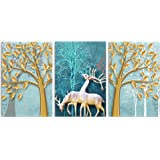 Saumic Craft 3 Reindeer Animals Jungle Scenery Self Adeshive UV Coated 3D Painting with a Special Present Inside (18 inch x 3