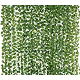 Yatim 78-Ft 12 Strands Artificial Silk Fake Greenery Hanging Vine Plant Leaves Jungle Theme Garland Home Garden Wall Decoration (Money)