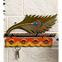 JaipurCrafts Beautiful Mor Pankhi Wooden Key Holder (4 Hooks, 9 in x 6 in)
