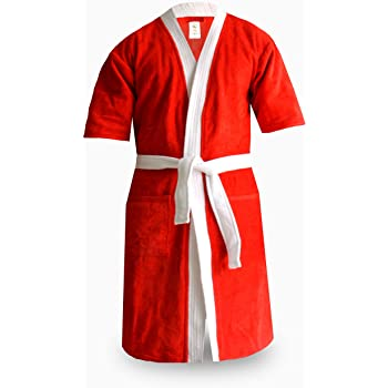 Loomkart Very Fine Export Quality Bath Robes in Red with White Very Soft  Velvet Finish in Avioni Zip-Packing- Standard Size 0fc2e8888