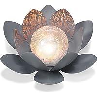 Dekorative Solar Lotusblüte aus Metall mit Glaskugel - angenehm warmweißes Licht - traumhafte Lichteffekte…