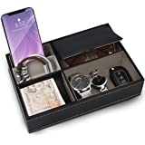 Belle Vous Black Faux Leather 5 Compartment Valet Dresser/Nightstand Organiser Tray - Desk Storage Box For Wallet, Phone, Key