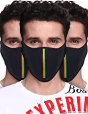 Big Tree C05A3006BK3XXCT Cotton Half Face Mask, All Pack of 3 (Black)
