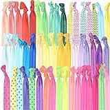 GirlZone 50er Haargummi Set Mädchen - Zopfgummis & Stoffarmbänder - Pferdeschwanz - Ostern Geschenk Mädchen Mitgebsel