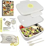 Smart Kitchen 5 Compartment Eco Lunch Box with Bag and Cutlery for Kids & Adults, Reusable Japanese Bento, Leakproof, Microwave Safe, Natural Wheat Straw BPA Free + Bonus 30 Healthy Recipes eBook