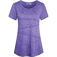 iClosam Donna Maglietta Sportiva,T-Shirt Donna Maniche Corte Traspirante Rapida Asciugatura Running Fitness Yoga Top Tee