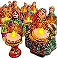 JH Gallery Handmade Recycled Material Puppet Diyas Rajasthani Dolls Tealight/Diya/Diwali Diya/Festive Diya/Lightining Diya/Figurine Diya/Idol DiyasGift For Diwali (15 cm x 15 cm) (1 Pair)(2 Tealight Candle Holders)