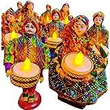 JH Gallery Handmade Recycled Material Puppet Diyas Rajasthani Dolls Tealight/Diya/Diwali Diya/Festive Diya/Lightining Diya/Fi