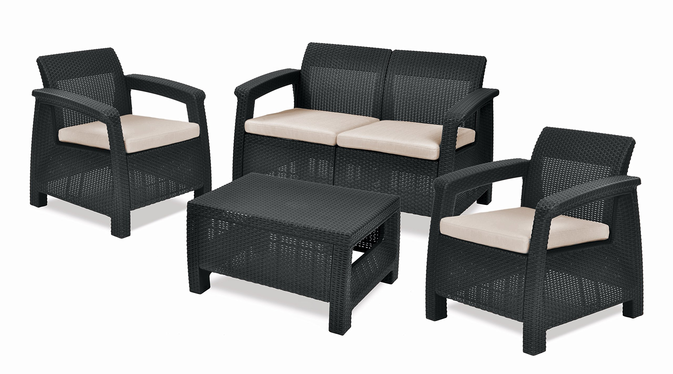 Keter Corfu Outdoor 4 Seater Rattan Sofa Furniture Set with Accent ...