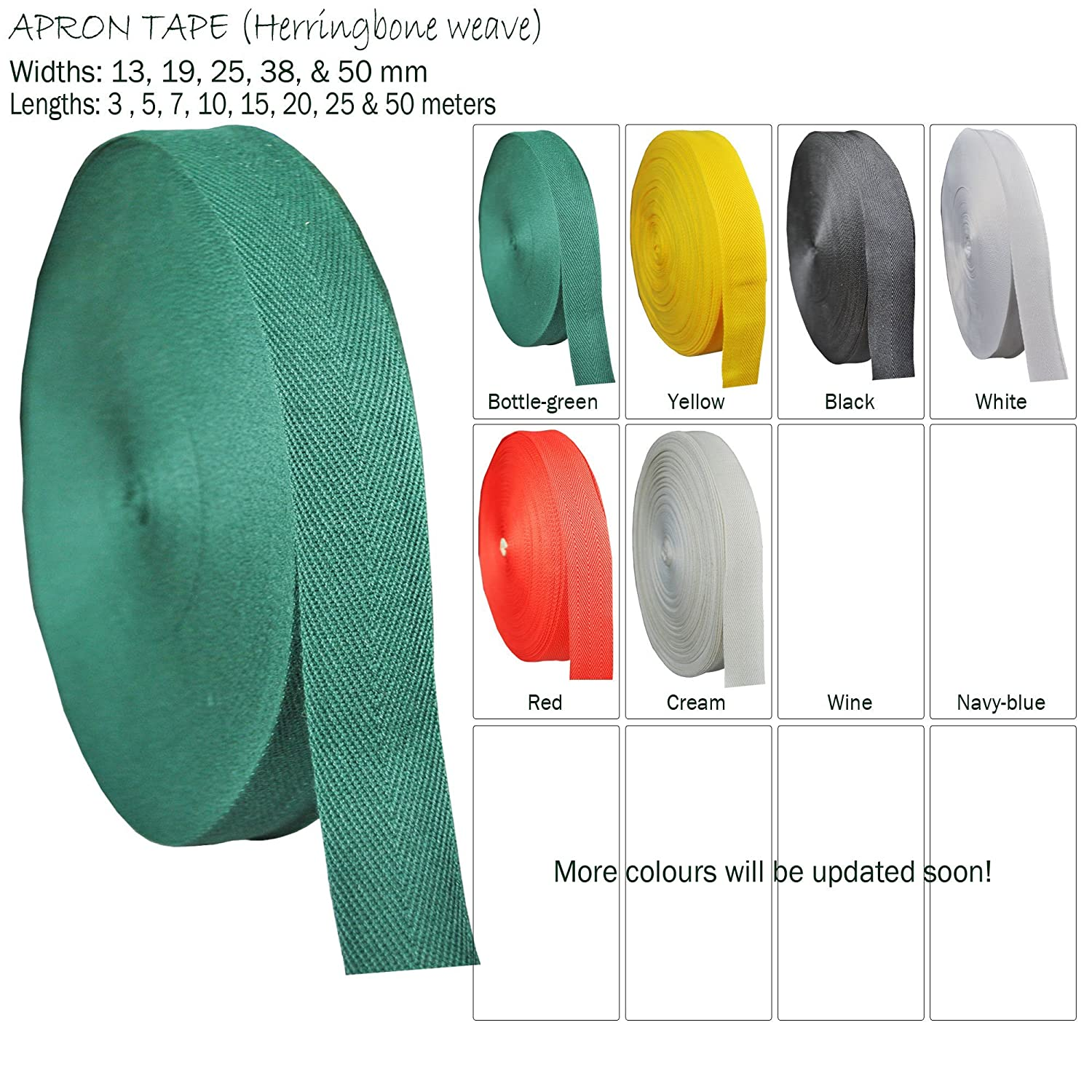 White apron tape - Spun Polyester Apron Tape Pattern Herringbone Weave Tape To Bind Edges Trim Bunting Upholstery Twill Edging Lengths Pre Cut Widths 13 19 25 38 And 50 Mm 25