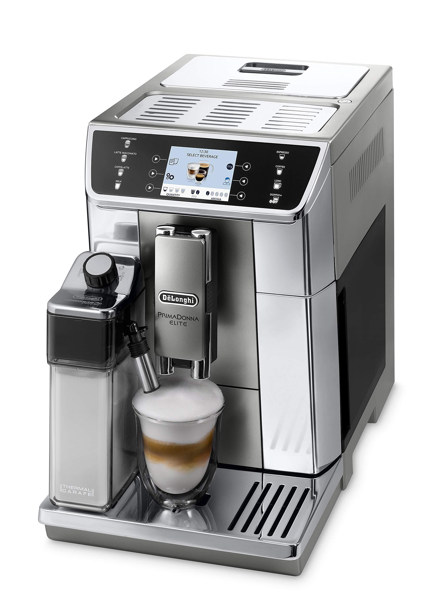DeLonghi-PrimaDonna-Elite-ECAM-65655MS-Kaffeevollautomat-Farbdisplay-8-Sensortouch-Direktwahltasten-Integriertes-Milchsystem-APP-Steuerung-Edelstahlfront-2-Tassen-Funktion