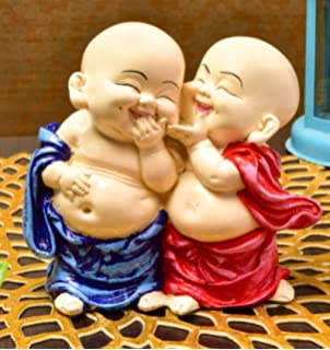 Karigaari India Handcrafted Resine Little Laughing Buddha Monk Sculpture | Showpiece for Home Décor and Office Idols & Figurines at amazon