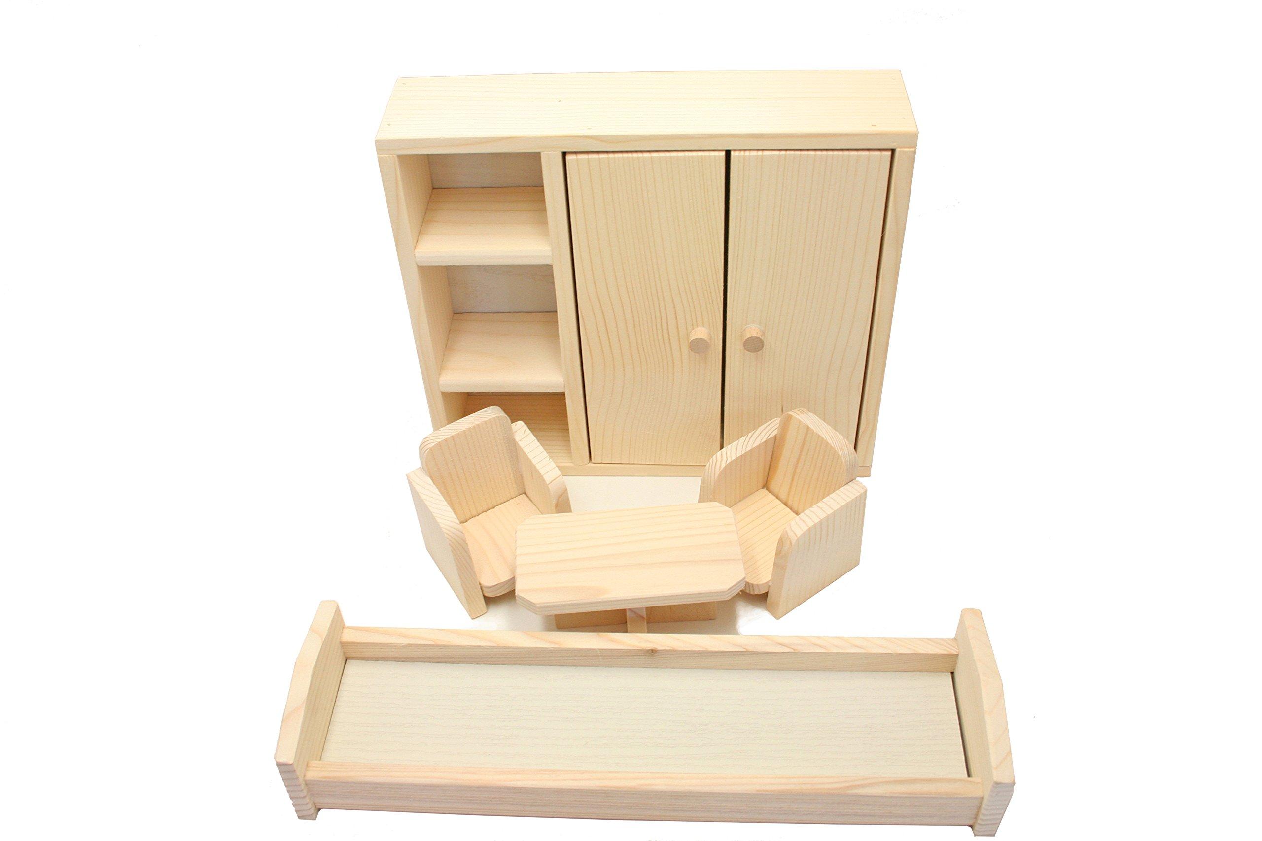 Camera da letto giocattolo in legno di pino per bambole e ...