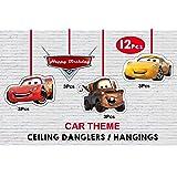 WoW Party Studio Mcqueen Car Art Board Ceiling Hanging, 12 Piece, Multicolour