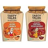 Tasty Tales Punjabi Aloo Launji, Vathal Kozhambu Masala Paste Mix 130g Each Traditional Food   100% Nautral   Easy to Cook  