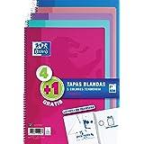 Oxford Cuadernos A4,Tapa Blanda, 80 Hojas, Cuadrícula 4x4, Pack 4+1 , Surtido colores tendencia