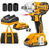 Ingco 20V Brushless Lithium-Ion Impact Wrench with 2 PCS 2.0Ah Batteries, Charger, 3pcs Sockets, 1/2 Inch, 300NM…