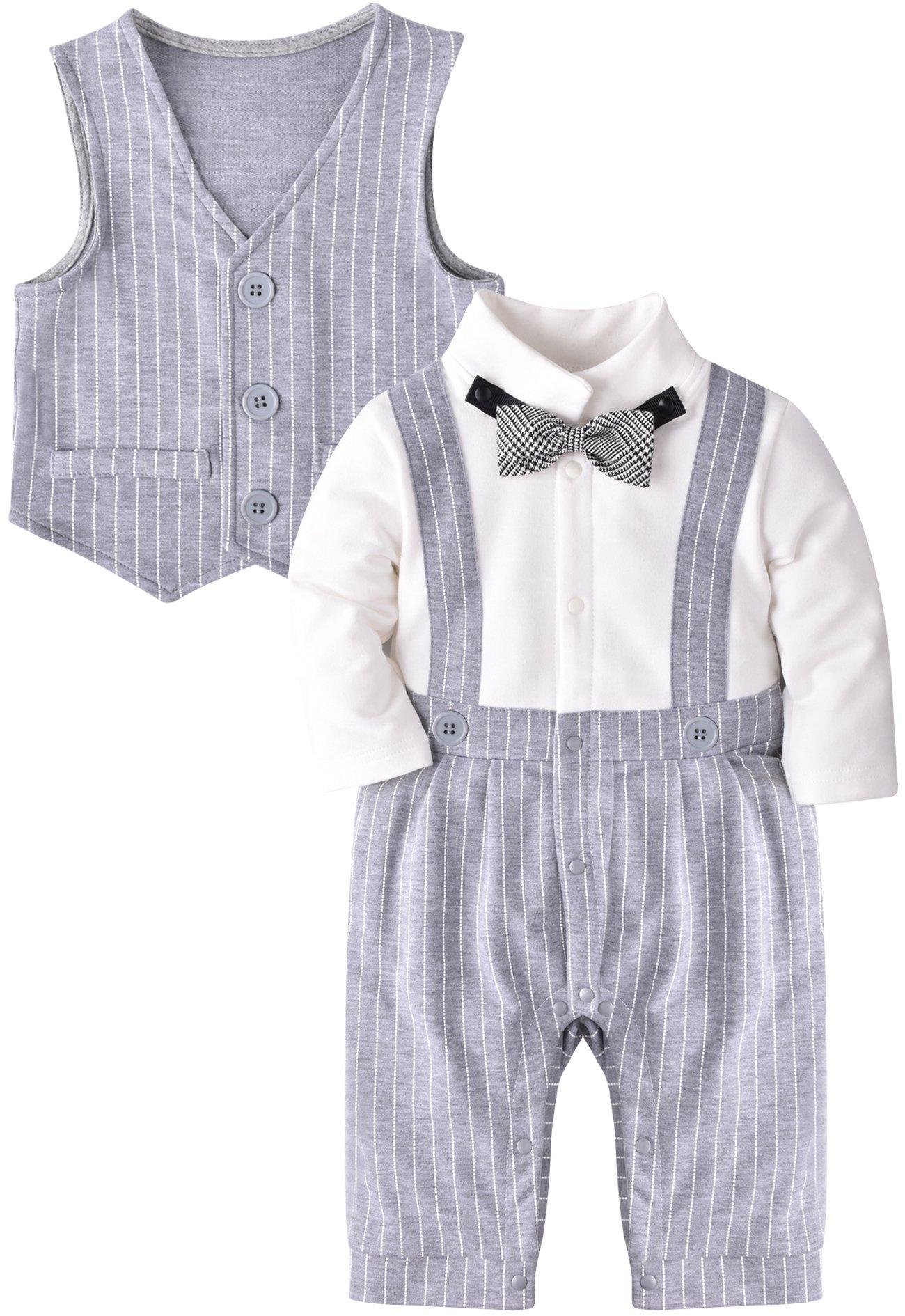 ZOEREA 2tlg Baby-Jungen Bekleidungssets Strampler + Anzug Mantel Gentleman Baumwolle Weiß Stripe Drucken Bowknot Langarm…