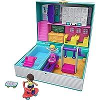 Polly Pocket Coffret Univers Aventures à l'école, 2 mini-figurines, accessoires, autocollants et surprises cachées…