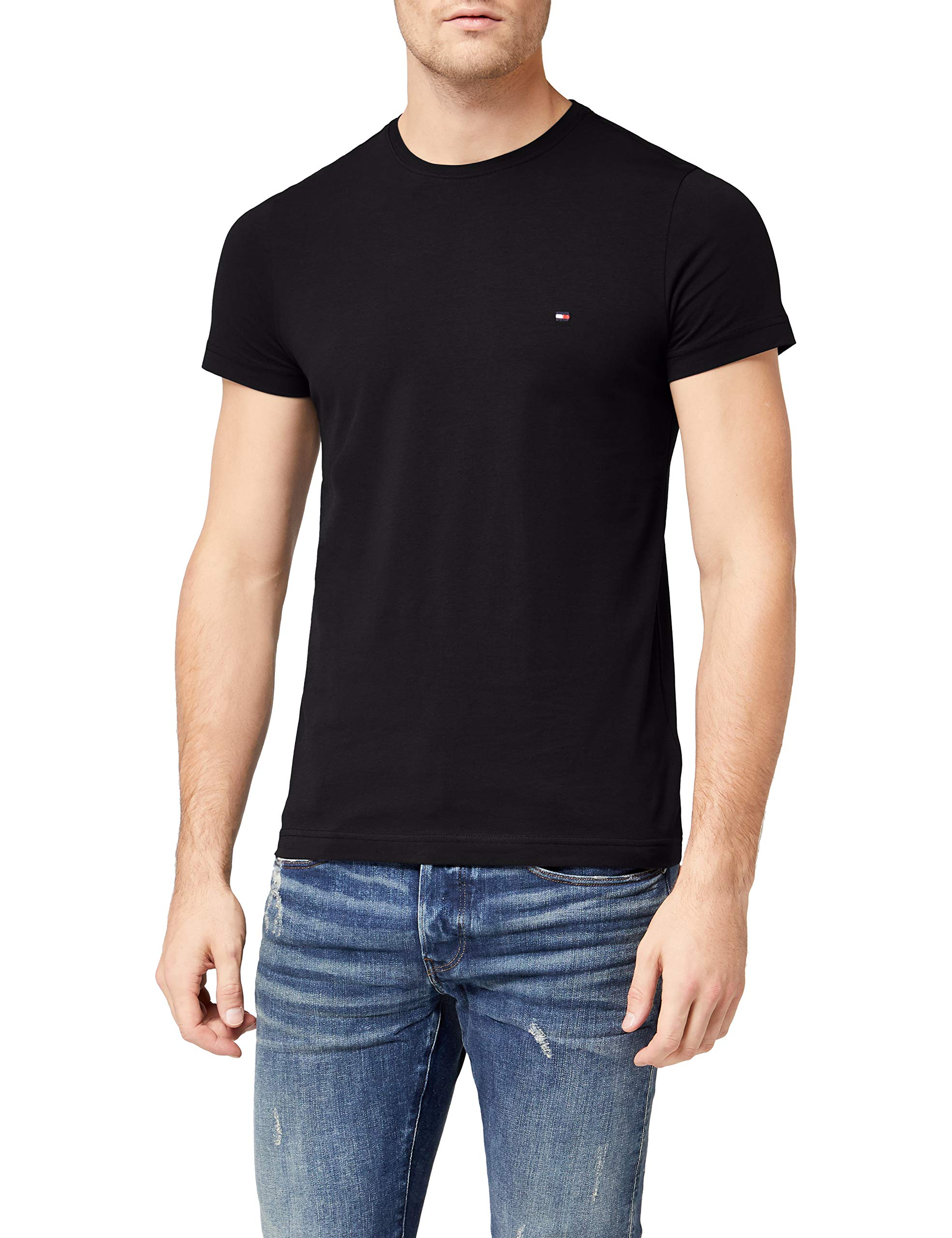Tommy Hilfiger T Shirt with Flag Logo In Stretch Slim Fit
