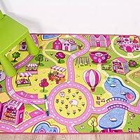 "Children's Funfair Pink Colourful Kids Girls Town City Roads Floor Play Area Rug Mat 80cm x 120cm (2'7"" x 3'11"")"