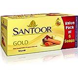 Santoor Gold Organic Luxury Bath Soap with Saffron, Sakura & Sandalwood for a Golden Glow, Combo Offer 125g Pack of 6