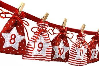 Frau WUNDERVoll Adventskalender 31 - Stoff, rot weiß - Weihnachtskalender Bastelset Adventskalender Adventskalender zum Befüllen