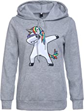 Fancyku Women's Cotton Dabbing Unicorn Printed Hoodie Long Sleeves Pullover Sweatshirt
