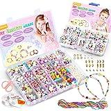 WinWonder Niños Bricolaje Conjunto de Cuentas,1150 PCS Pulseras Collares de Joyas para Niñas Cuentas para la Fabricación de J