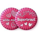 Junggesellenabschied Frauen - 12 Stylische Buttons für die Superbraut und ihre Wilden Mädels - Perfektes Junggesellinnenabschied (JGA) Accessoire für die Braut und Das Team Braut
