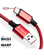 Tarkan 6 ft Long Rugged Dash & Warp Charging Data Type C Cable for All USB-C Android Mobile Phones (Red) Supports 5V 6A & 5V 4A (20W & 30W)