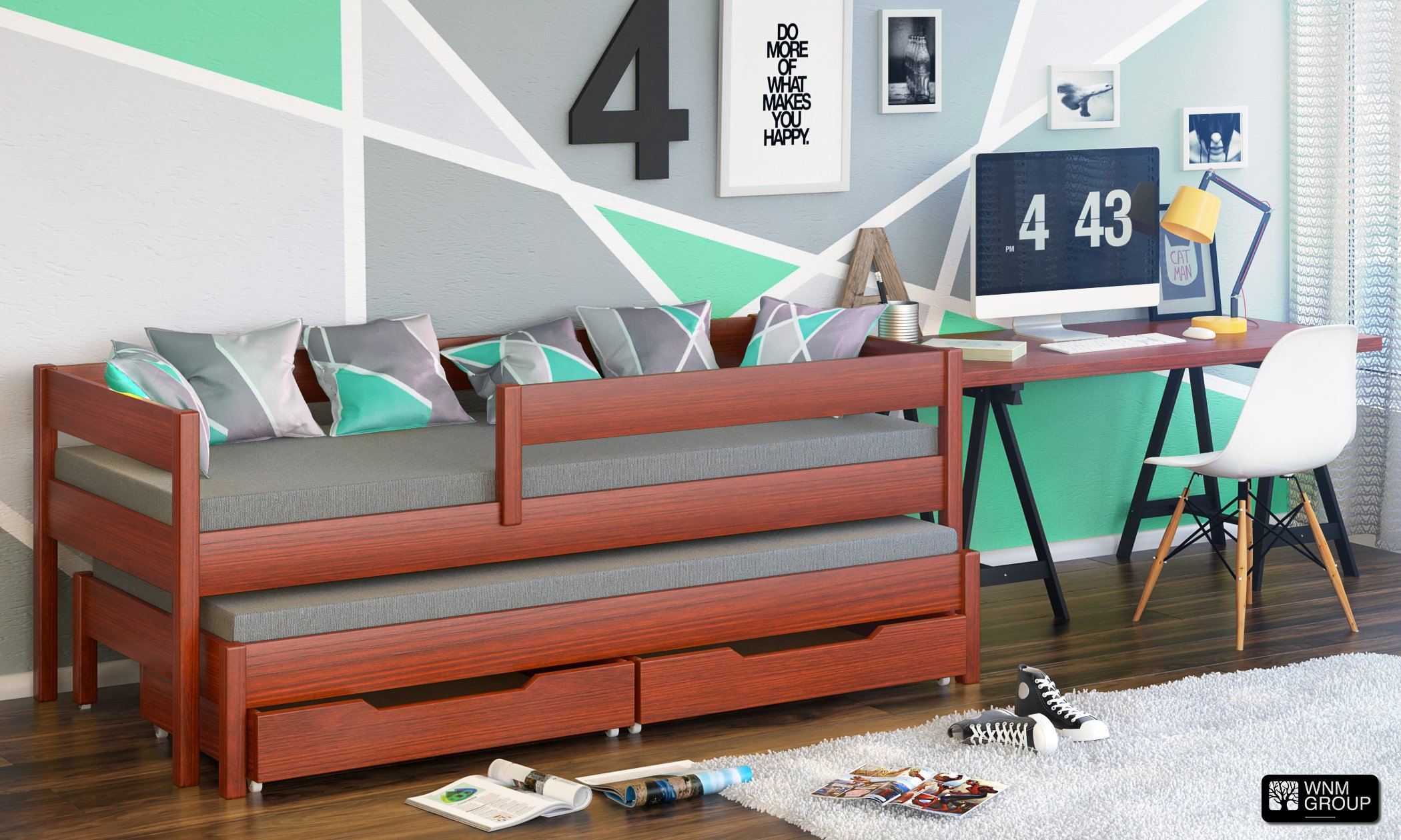 Jula Single bed for kids with trundle. Drawers included (180x80/170x80, Palisander) Jula Bed with trundle Legs made of solid wood with a thickness of 45x45 mm You get the external dimension of the bed by adding 7 cm in to the dimension in table Bedframe strength up to 150kg 2