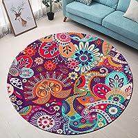 LB Bohemian Area Rugs Paisley,Mandala,Flowers Round Rug Soft Washable Interior Carpet Floor Mat/Door Mat/Play Mat for…