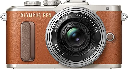 Olympus PEN E-PL8 Kompakte Systemkamera (16 Megapixel, elektrischer Zoom, Full HD, 7,6 cm (3 Zoll) Display, Wifi) inkl. 14-42 mm Pancake Objektiv braun/silber