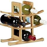Relaxdays Weinregal aus Bambus, Flaschenhalter für 9 handelsübliche Flaschen, Originelles Design, freistehend, HBT: ca. 30 x 30 x 14,5 cm, Natur