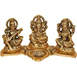AONA Metal Ganesha Lakshmi and Saraswati Idol, 20 x 11 x 10 Cm, Golden