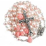 Nazareth Store Rosa Rossa cattolica borda la Collana del Rosario 6pcs La Nostra Rosa Lourdes Medaglia & Croce NS