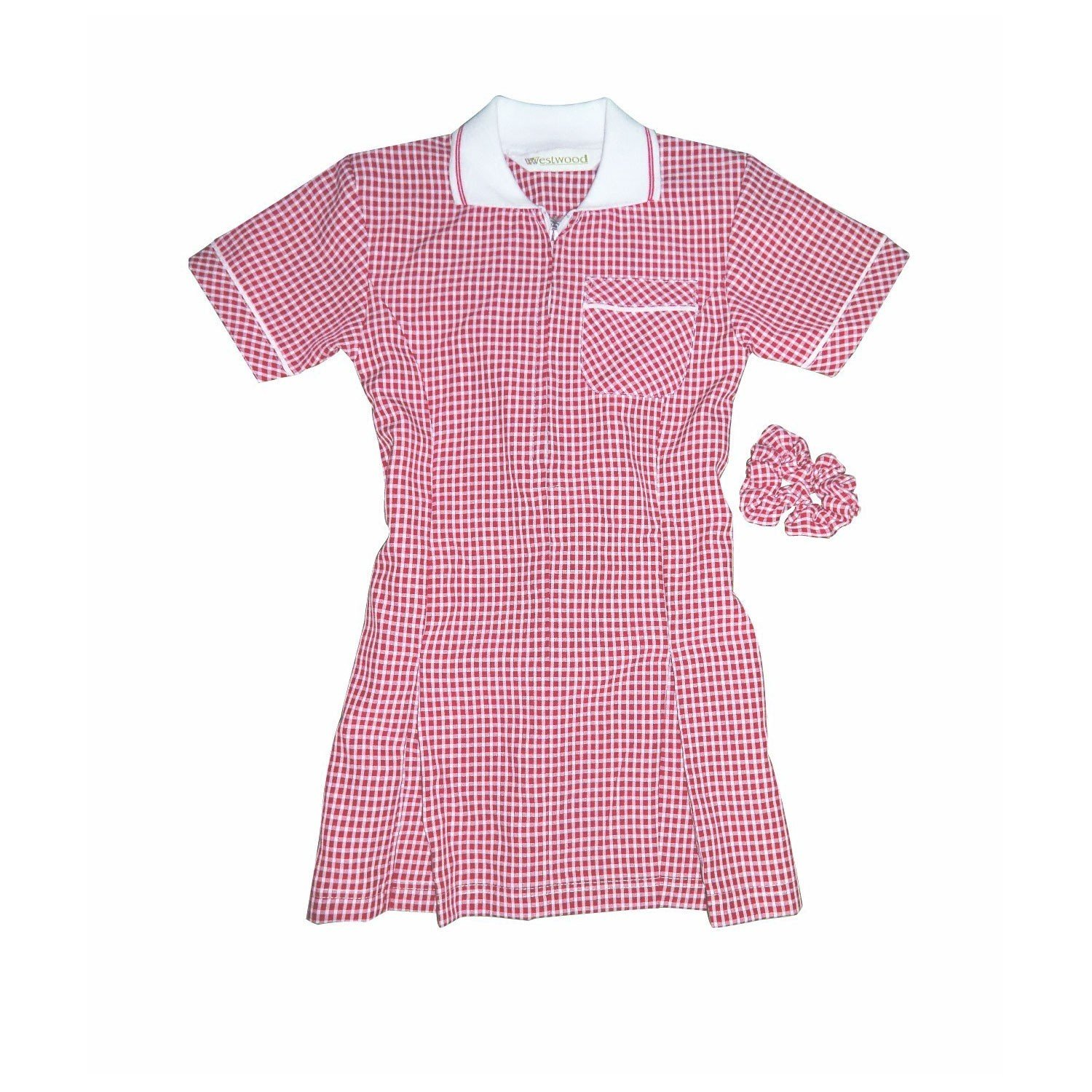 New! Girls Gingham Check School Dress + Free Scrunchie 7364: Amazon.co.uk:  Clothing