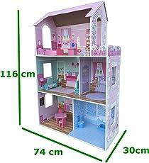XXL Puppenhaus aus Holz MDF Wooden Doll Haus mit Möbeln 3 Etagen - HÖHE 116 cm