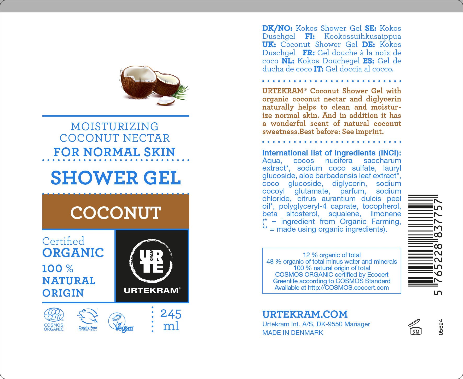 Urtekram Gel de Ducha de Coco BIO, piel normal, 245 ml