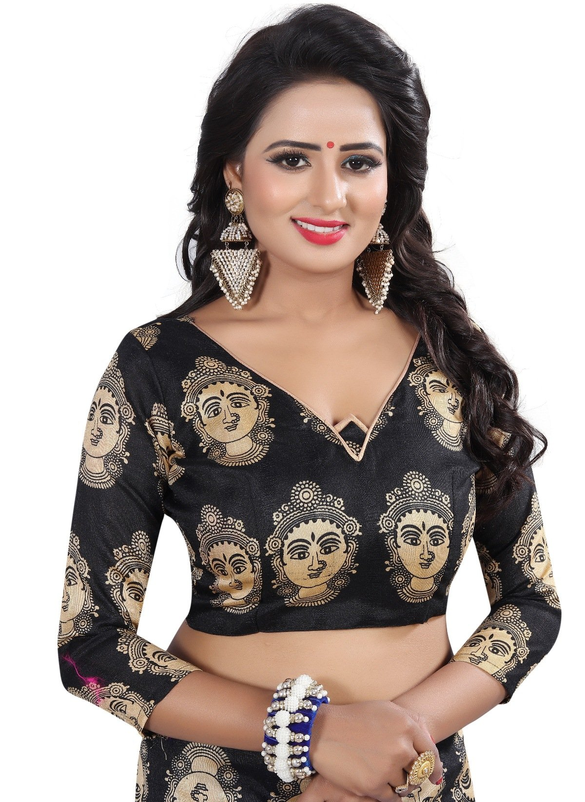 78802aa4a7 IndoPrimo Women's Paper Silk Embroidered Wedding Wear Saree with Blouse  Piece (Free Size, Multi Colour)