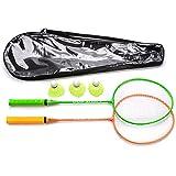 Badminton-racketar, set 2 eller 4 personer, badmintonset för vuxna, barn, familj. Kommer med 3 fjäderbollar
