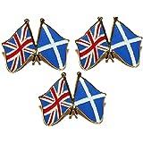 Set Of 3 X Scotland And Union Jack Flag Proud To Be Scottish British Pin Badge