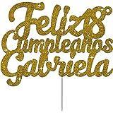 Feliz Cumpleaños Personalizado Cualquier Nombre Y Cualquier Edad Glitter Adorno De Pastel Cake Topper